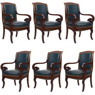 Antique Mahogany & Leather French Arm Chairs - Set of 6