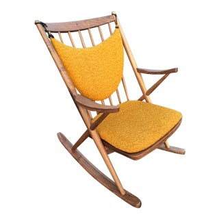 Danish Modern Yellow Cushioned Sculptural Rocking Chair