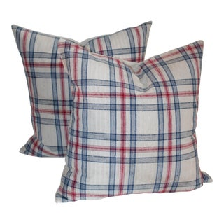 Blue & Red Striped Pillows - A Pair