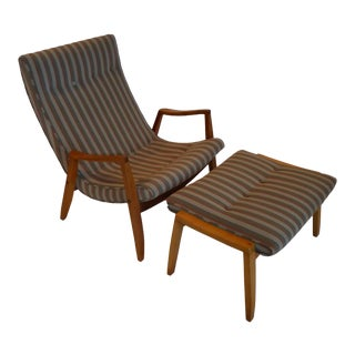 1950s Milo Baughman Scoop Lounge Chair and Ottoman