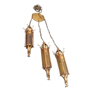 Three-Tier Mid-Century Gold Gothic Style Pendant Light