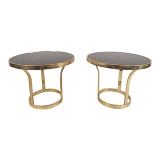 Milo Baughman Style Mid-Century Modern Brass End Tables - A Pair