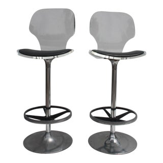 Vintage Lucite & Tulip Base Swivel Bar Stools - A Pair