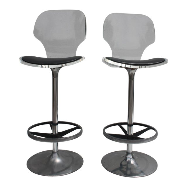 Vintage Lucite & Tulip Base Swivel Bar Stools - A Pair - Image 1 of 9