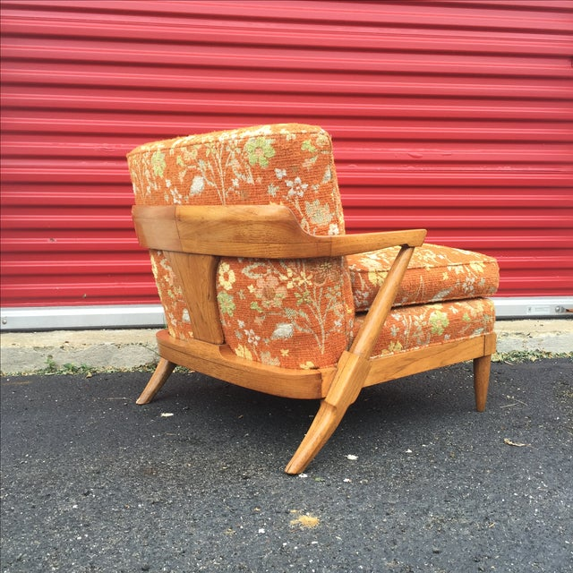 Mid-Century Orange Floral Lounger - Image 5 of 10