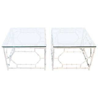 Iron Faux Bamboo End Tables - a Pair