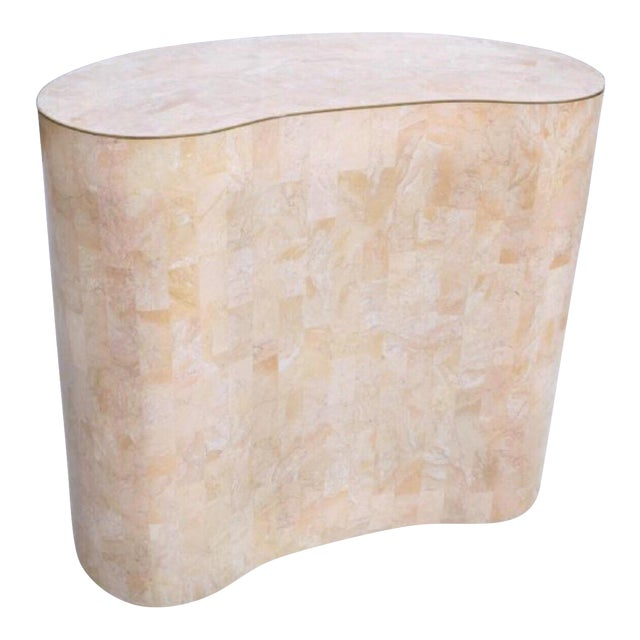 Maitland-Smith Tessellated Pink Marble Kidney Side Table - Image 6 of 6