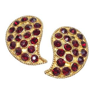 Red Rhinestone Paisley Earrings