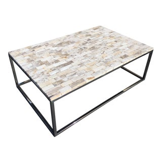 Palecek Mosaic Petrified Wood Coffee Table