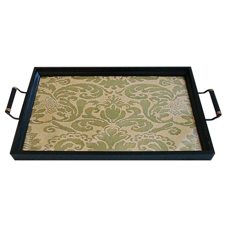 1930s Cocktail Serving Tray W/ Fortuny Fabric - Image 1 of 8