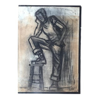 Mid-Century Charcoal Male Figure Sketch