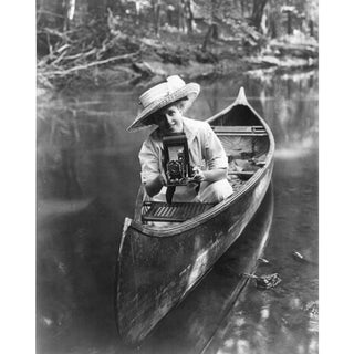 Women in Canoe With Camera Print of Photo From Early 1900's
