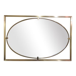 Rectangular Square Stock Brass Frame with Oval Mirror