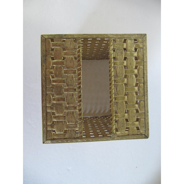 Basket-Weave Gold Tissue Box - Image 3 of 4