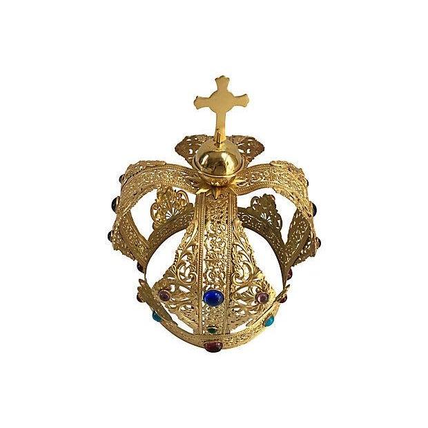 Vintage Brass Filigree Cabochon Crown - Image 3 of 5