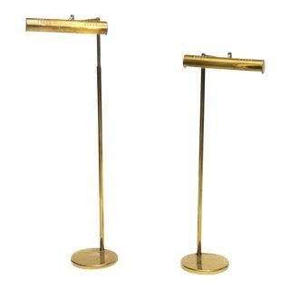 Pair of American Modern Adjustable Brass Floor Lamps, Castelli