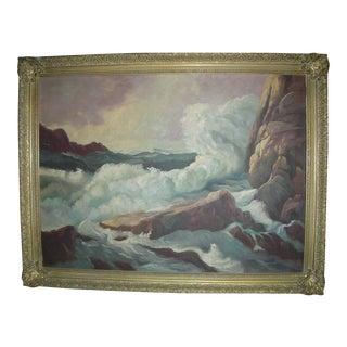 Framed Stormy Sea & Rocks Painting