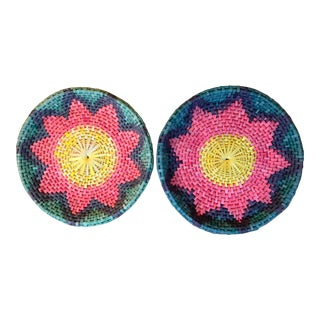 Boho Sunburst Woven Basket Trays - A Pair