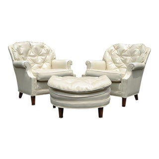 Vintage Hollywood Regency Tufted Club Lounge Chairs & Ottoman - Set of 3