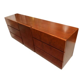 1970s American Milo Baughman for Lane Olive Wood Burl Dresser or Credenza