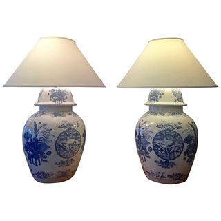 Chinese Blue & White Monumental Lamps - Pair