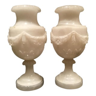 Monumental Onyx Torchiere Lamps - a Pair