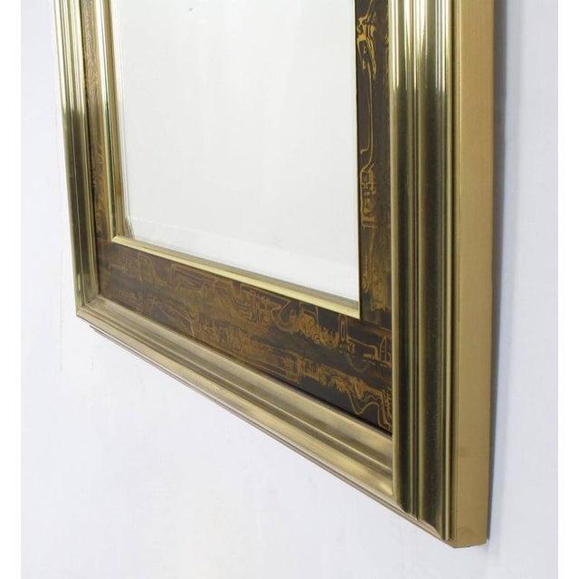 Pair of Mastercraft Bernhard Rohne Acid-Etched Frame Beveled Mirrors - Image 6 of 8