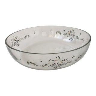 Beautiful Old Floral Basket Decor Glass Dish