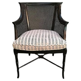Vintage Black Caned Chair