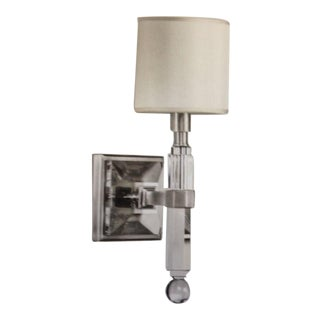 Four French Modern Neoclassical Style Wall Lights in Nickel and Crystal