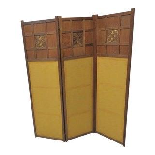 Oak Arts & Crafts Folding Screen