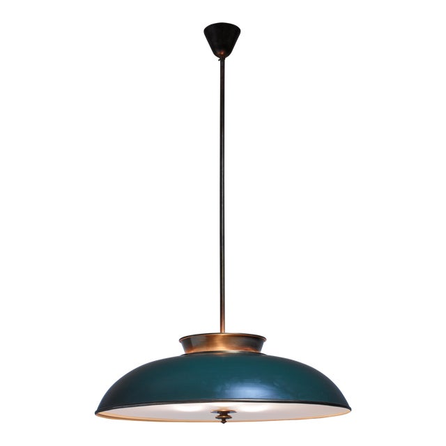 Large Swedish brass pendant lamp by Harald Notini, 1930s - Image 1 of 6