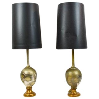Mid Century Modern Brass And Black Lamps - Pair