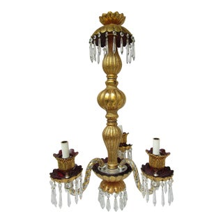 Three Light Crazed Gold & Purple Glass Chandelier