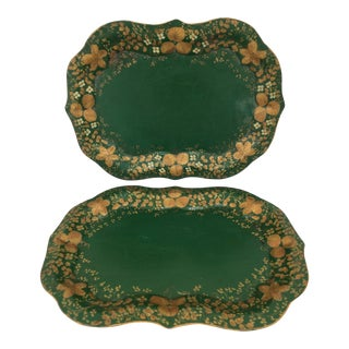 Green Painted Tole Trays - A Pair