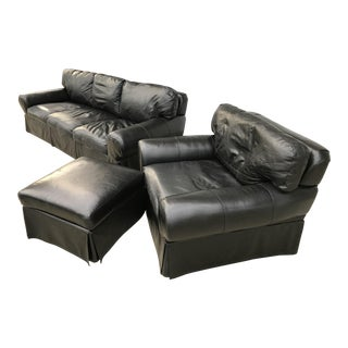 Custom Made Leather Sofa & Chair With Ottoman - Set of 3