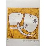 Image of Original Yellow Monoprint by Marina Anaya