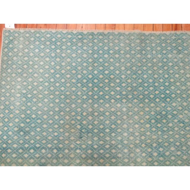 Mint Green Turkish Overdye Square Rug - Image 4 of 4