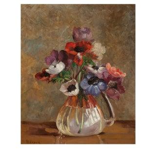 Poppies in Glass Vase Still Life Oil Paining