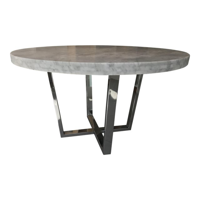 White carrera marble table steel table chairish for Table carrera