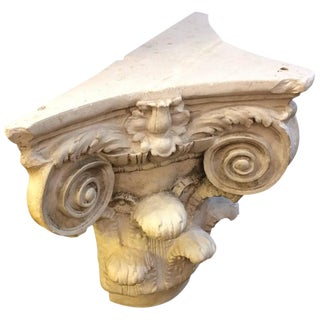 Three Sided Carved Plaster Column Top Table