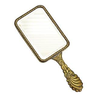 French Brass Vanity Hand Mirror
