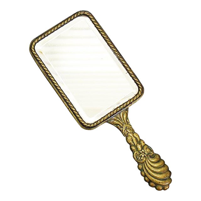 French Brass Vanity Hand Mirror - Image 1 of 4