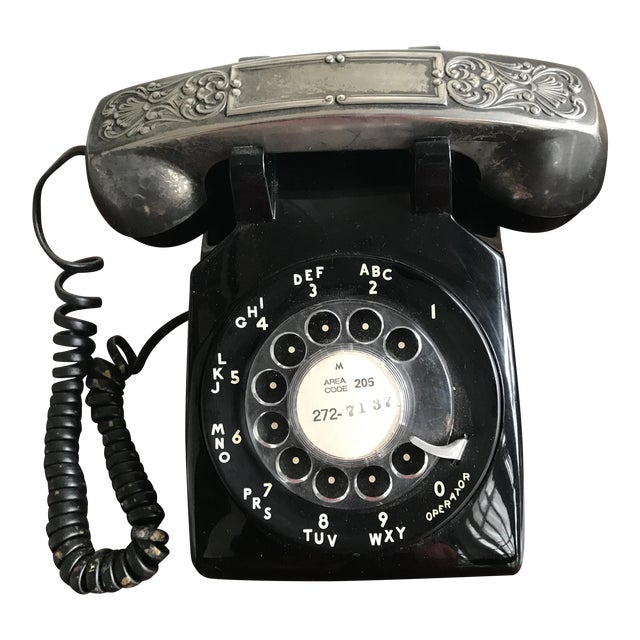 Vintage Rotary Dial Phone with Silverplate Receiver - Image 1 of 3
