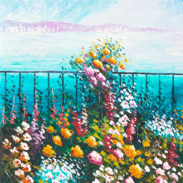 Image of Flower Bed With Bay Overlook Oil Painting