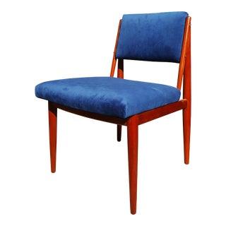 Mid-Century Modern Mahogany Blue Velvet Desk / Vanity Chair