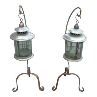 Patio Garden Candle Lanterns - A Pair