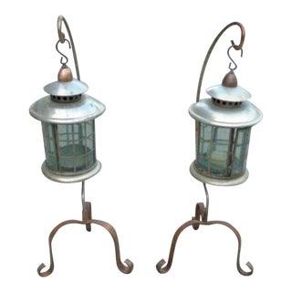Patio Garden Candle Lanterns - A Pair