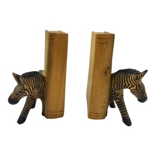 Hand-Carved Wood Zebra Bookends - a Pair