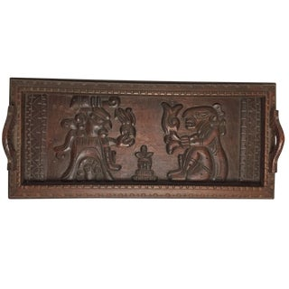 Large Vintage Decorative Wooden Tray With Hand Carved Aztec Scene